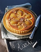 Pear tart with slivered almonds