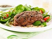 Lamb fillet with a mixed leaf salad
