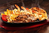 Surf and Turf with tomatoes and chips