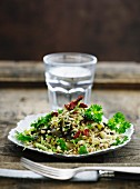 Pearl barley with dried tomatoes and parsley