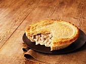Chicken and mushroom pie, sliced
