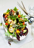 Wild herb salad with grilled vegetables