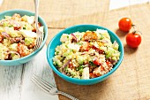 Couscous salad with tomatoes, mozzarella and cucumber
