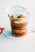 Apple and cinnamon cake in a jar