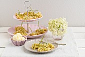 Baked elderflowers with vanilla ice cream