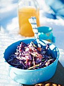 Coleslaw on a garden table