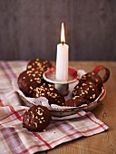 Elisenlebkuchen (Nuremburg gingerbread cake) in a candle holder