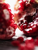 A cut open pomegranate (close-up)