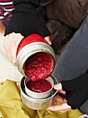 Beetroot soup in a Thermos flask for an autumnal picnic