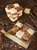 Muesli bars with white chocolate as a Christmas present