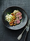 Duck breast with chickpeas and couscous