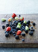 Fresh summer berries on a chopping board