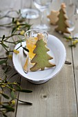 Christmas tree biscuits, kumquat jam and a sprig of mistletoe