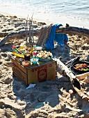 A Caribbean picnic on a sandy beach