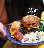 A person holding a cheeseburger, pasta salad and crisps on a plate