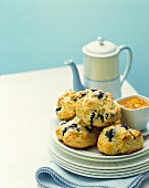 Blueberry scones with tea