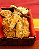 Cheese scones with butter