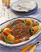 Beef brisket with potatoes, carrots and green beans