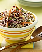 Coleslaw in a striped bowl