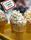 Cupcake cones at a bakesale (USA)