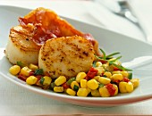 Fried scallops with bacon and a corn salad