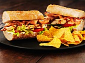 Ciabatta club sandwiches with tortilla crisps