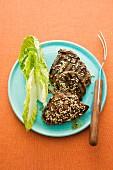 Grilled beef fillet steaks with sesame seeds