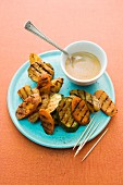 Grilled tandoori vegetables with a dip