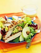 Apple, walnuts and grilled turkey salad
