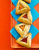 Hamantash (triangular jam filled pastries) with plum and apricot jam