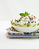 Peppermint cream with grated chocolate and whipped cream
