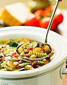 Minestrone with spiral pasta