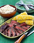 Beef steak with mashed potatoes and sweetcorn