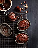 Mini chocolate cakes with hazelnuts (seen from above)