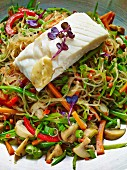 Glass noodle salad with poached fish