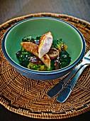 Glazed rabbit fillet on a broccoli and mushroom medley
