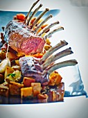 Rack of lamb with a potato and sweet potato medley