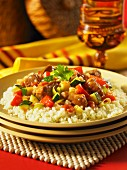 Stir-fried beef and vegetables on a bed of rice