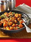 Fried sweet potatoes with gremolata