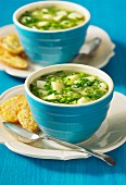 Vegetable soup with cheese biscuits