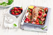 Baked pork fillet with strawberries, basil and balsamic vinegar
