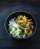 Oriental noodle salad with pork and vegetables