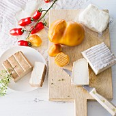 An arrangement of cheese featuring halloumi, scamorza, goat's cheese and smoked tofu