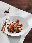 Lamb chops with a lentil salad
