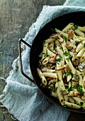 Penne with chanterelle mushrooms and parsley