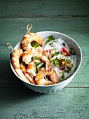 Prawn skewers with glass noodles