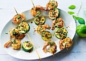 Prawn skewers with courgette and gremolata