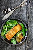 Salmon fillet on a bed of purslane