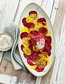 Beetroot and golden beet carpaccio with cashew mousse