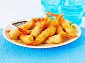 Breaded prawns and prawns wrapped in puff pastry
